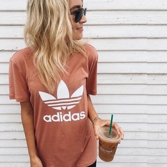 adidas Tops - [Adidas] Boyfriend Trefoil Tee Raw Pink Originals